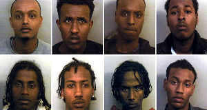 Photos issued by Avon and Somerset Police of (top row, from the left) Abdirashid Abdulahi, Mohamed Dahir, Liban Abdi, Jusef Abdirizak and (bottom row, from the left) Idleh Osman, Arafat Ahmed Osman, Abdulahi Aden and Mohamed Jumale.