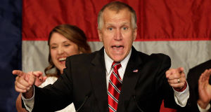 Republican Senate candidate Thom Tillis at an election night rally in Charlotte, N.C.. (AP Photo/Chuck Burton)