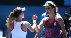 Radwanska, left, shakes hands with Azarenka at the net after her win