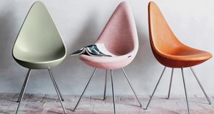 Group of Drop chairs courtesy of Republic of Fritz Hansen, re-launched this week. The tear-shaped beauty of mid-century design was a big hit throughout the world for 50 years.