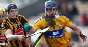 Kilkenny's Walter Walsh and Conor Ryan of Clare in action today. Picture: Inpho
