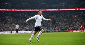 Rooney after scoring last night. Picture: PA