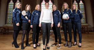 At yesterday's launch of the WGPA were, camoige players Anna Geary of Cork, Wexford's Kate Kelly, Clare's Deirdre Murphy, WGPA Chairperson Aoife Lane, and footballers Valerie Mulcahy of Cork, Mayo's Fiona McHale and Tyrone's Gemma Begley.