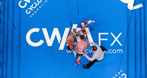 DOWN AND OUT: Carl Frampton knocks down Chris Avalos during their IBF Super-Bantamweight World Title fight at Odyssey Arena, Belfast. Picture: Ramsey Cardy