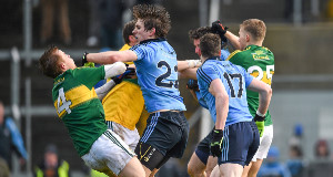 Dublin's Michael Fitzsimons clashes with Kerry's Fionn Fitzgerald. Fitzsimons was subsequently sent off. Picture: Diarmuid Greene