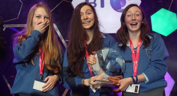 Emer Hickey, Sophie Healy-Thow and Ciara Judge from Kinsale Community School in Co Cork as they are named the BT Young Scientists of the Year at the RDS, Dublin.Picture: PA