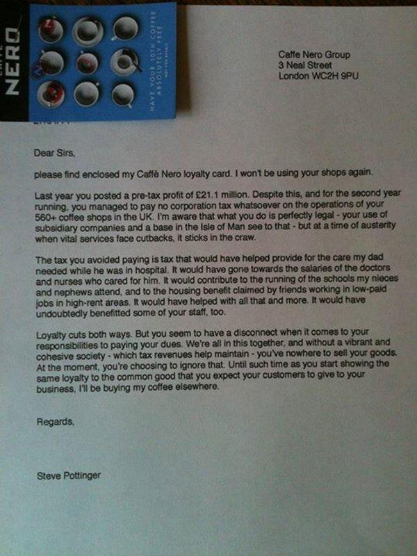 Customer Takes Cafe Chain To Task For Avoiding Corporation